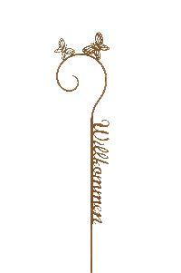 Gartenstecker Willkommen ROST 463245 Gartenstab Metall 24x120cm Schrift+Schmetterling