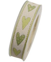 Band Heisse Liebe mit Draht GRUEN x342 53 mit Drahtkante 25mm 20m Herzband