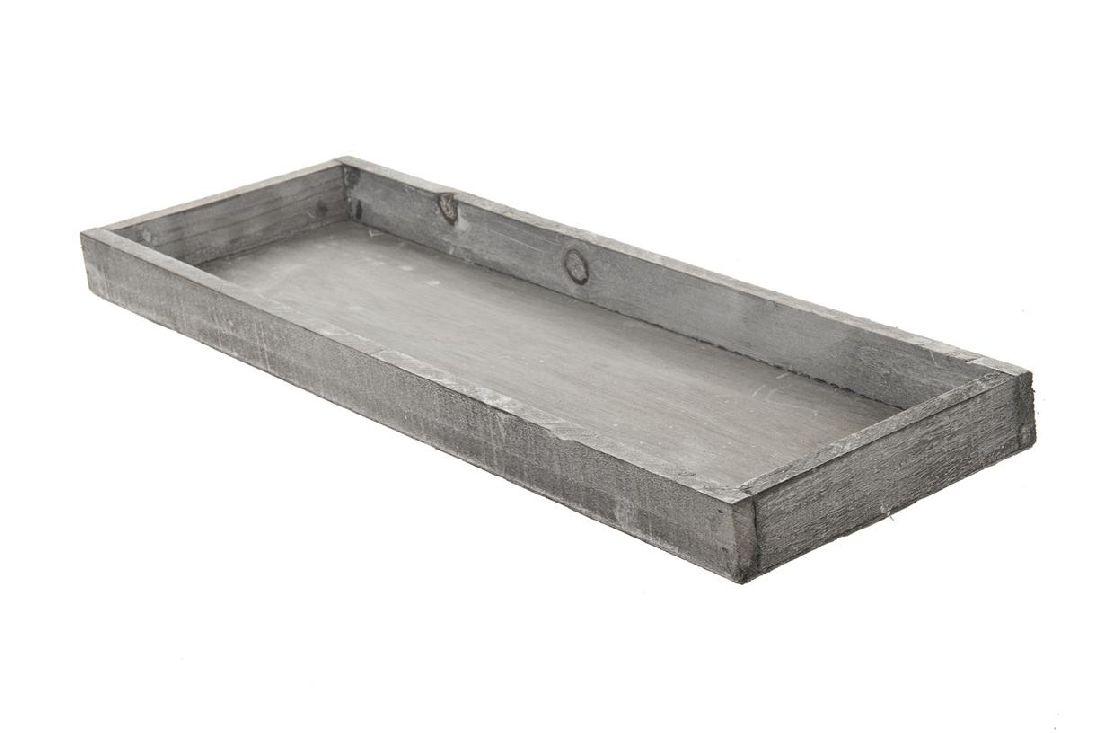 Dekotablett / Holztablett GRAU-WASHED 95333 42x14x3cm