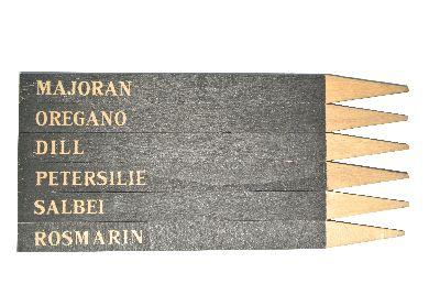 Kräuterstecker 60674 BRAUN-SCHWARZ 6 Stück 1,5xH20x0,5cm Kräuterschilder