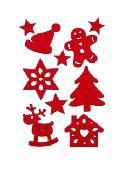 Filzsticker Weihnachten ROT 35114 Größe: 2cm - 5cm Stärke ca.3mm 10Sticker/Beutel