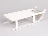 Schlitten aus Holz WEISS 220925 21x51cm mit Kordel