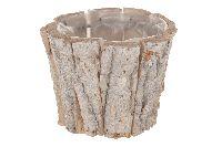 Birkentopf 22678 WHITE-WASHED rund 10x10x8cm mit Folie