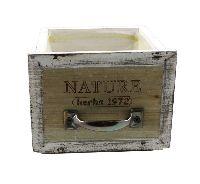 Schubladenbox mit Innenfolie VINTAGE 12571 Holz NATURE Herbs 12,5x11,5xH10cm