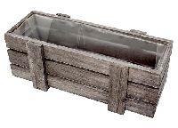 Holzkiste / Pflanzkiste GRAU 80584 29x10,5cm mit Folie