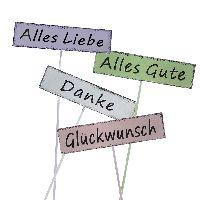 Wünsche-Stecker 4-farb. Metall74335 Alles Gute 8x22cm Glückwunsch Alles Liebe