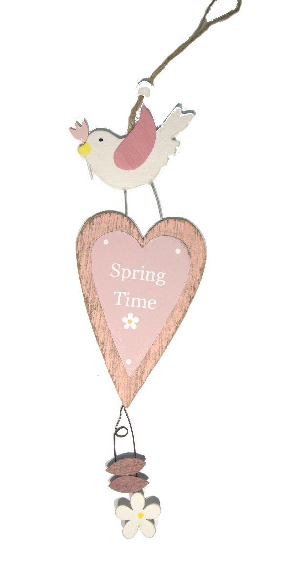 Dekohänger Spring Time ROSA-WEISS 16180 16x7,5 cm L:32cm  Holz 4 Stück
