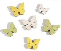 Streusortiment Swiff GELB-WEISS-GRÜN 35149 3Farben Schmetterling3-4cm 3GrößenHolz