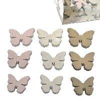 Streusortiment Swiff GRAU-ROSA-WEISS 35149 3Farben Schmetterling3-4cm 3GrößenHolz