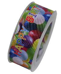 Band Happy Birthday Luftballon X409 mit formstabiler Kante 40 mm 15 Meter