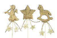 Steckermix Weihnacht GOLD 36074 Holz/Filzsterne 8cm Länge:26cm 3-fach sortiert