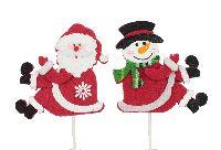 Filzstecker Santa Snow ROT-WEISS 36134 6cm Länge: 28cm  2-fach Filz