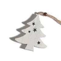 Tanne Stars WEISS 70242 Hänger 6x0,8x6,8cm Holz