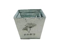 Metallkübel HOME ANTIK 13826  3er Set eckig 10x10/13x12/15,5x14cm