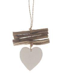 Dekohänger Herz WEISS mit Holzstücken 12x16x1cm 24668 Holz