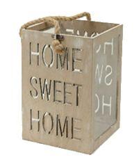 Laterne HOME SWEET HOME NATUR-WASH 22-6836 19x19xH25cm Spruch ausgelasert