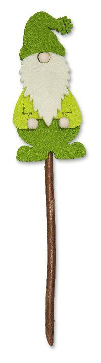Zwerg-Stecker Naturholz GRÜN-CREME 63139 6,5x13,5cm Filz mit Holzperlen