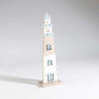 Leuchtturm Sealine BLAU-WEISS-SCHLAMM 11x7xH38cm 36225 Holz
