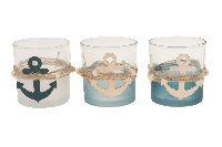 Teelichtglas Maritim 3er Sortierung 22742 7,5x7,5x8cm mit Anker