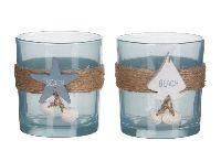 Teelichtglas Maritim 2er Sortierung 1038797 Segelbo 7,5x7,5x8cm Seestern, Muschel