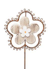 Stecker Rusty 330390 Holz + Rost Blume Ø10cm H30cm