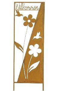 Gartenstecker/Stele Willkommen Rost  Blumen- + Vogelmotiv 30xH100cm 19861 Metall