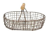 Drahtkorb mit Bügel ROST 420147  Metallkorb oval 22x14xH13cm