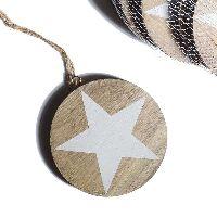 Holzhänger Star / Holzscheibe GRAU-WEISS-WASHED 33663 Ø11cm Stärke: 0,8cm