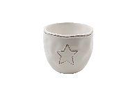 Keramik Topf Sternzauber WEISS-GLASIERT 11x9,5cm 39541
