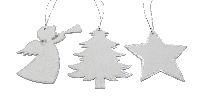 Weihnachtshänger Silberstaub WEISS-SILBER 62562  Holz 10x8,5cm Engel/Stern/Baum