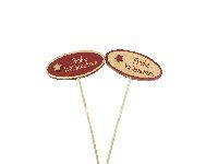 Holzstecker Weihnachtsspruch ROT-GOLD 62579 2-farbig sort. FROHE WEIHNACHTEN 7,5x3,5cm