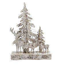 Winterlandschaft mit LED Licht WEISS GEWISCHT 67455 39,5x28,5cm Holz