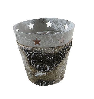 Birkentopf mit Metallrand NATUR-FROSTED 13cm 77096