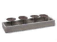 Kerzentablett m.4 Kerzenteller GRAU Gestell herausnehmbar 43x12x5cm 247063