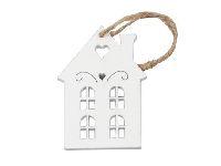 Holzhänger Wintertag WEISS 247088 Haus B4xL7cm
