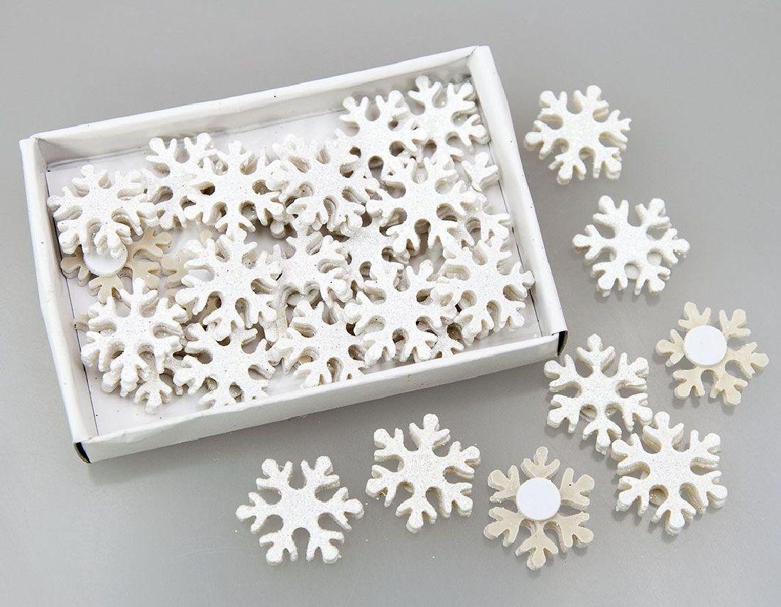 Schneeflocke zum Aufkleben WEISS-GLITZER 80352 2,5cm  Poly