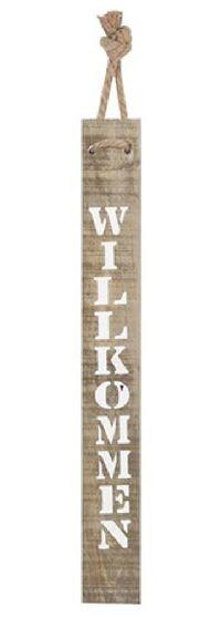 Stele / Schwartenbrett rustikales Holz weiße Schrift WILLKOMMEN 78x10x1,5cm  45114