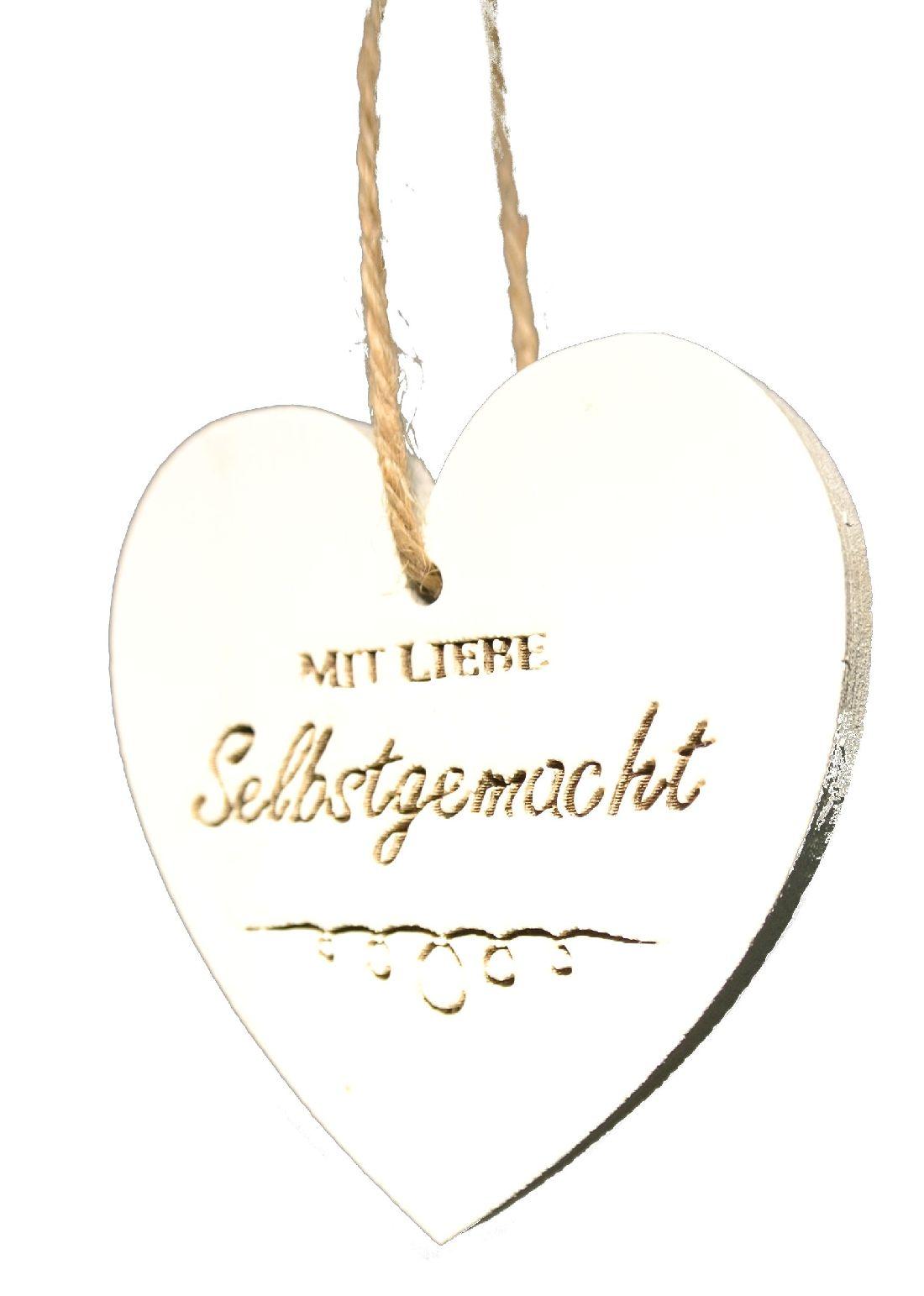 Herz MIT LIEBE Selbstgemacht WEISS-VINTAGE 25HOX01 Holz Ø6x0,6cm Herzhänger mit Spruch