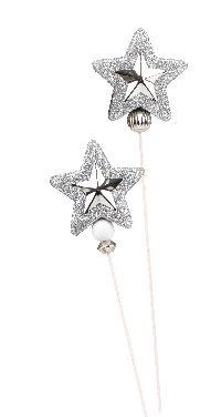 Glitterstern Shiny SILBER 5764328 am Holzpick Ø7,5cm GL:39cm