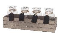 Glas mit Tafelhänger in Kiste GRAU 27217 Holzkiste 31x9x13cm Glasflasche