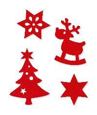 Filzsortiment Weihnacht ROT 61907 4-6cm Stern/Tanne/Rentier