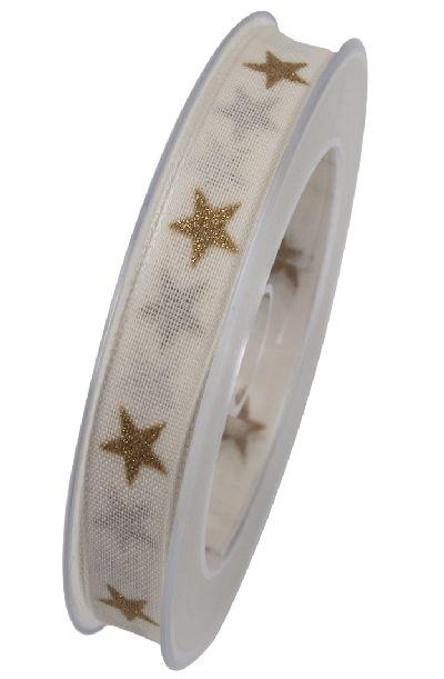 Band Sternenpracht CREME 021 X830 Sternenband 15mm 20Meter formstabile Kante