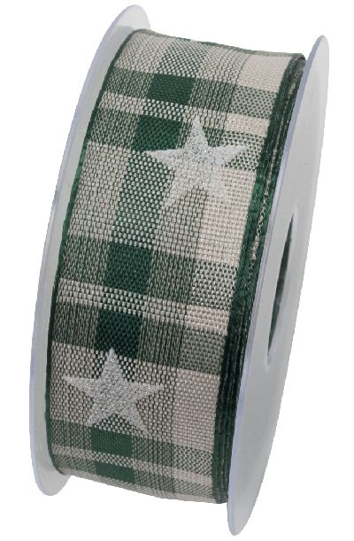 Band Wintermarkt mit Draht GRUEN 591 X853 40mm 15Meter Sternenband