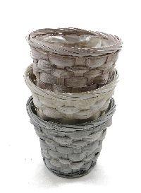 Bambuskorb Vintage GRAU-ROSÈ-BEIGE mit Folie rund 12,5xH10x7cm 10954