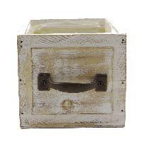 Schublade mit Griff CREME-VINTAGE 12757 mit Folie 12x12x11cm  Holz/Metall