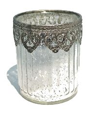 Bauernsilber Glas silber-crackle Metallmanschett Glas Ø8cm H9,5cm  49801009