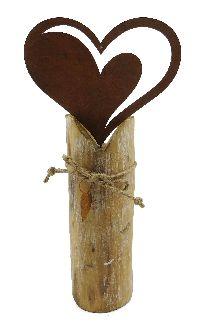 Rostherz auf Pfahl ROST-NATUR 14x28cm 64916 Holz/Metall