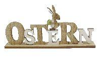 Schriftzug OSTERN NATUR-WEISS 66511 Holz 38x6x18cm mit Hase