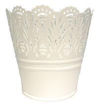 Metalltopf Flowerdesign WEISS 54800011 Øoben11cm Øunten7,5cm H10,5cm