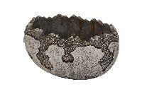 Zementschale ANTIK GRAU-WEISS 28811 Ei liegend 20x15x11cm